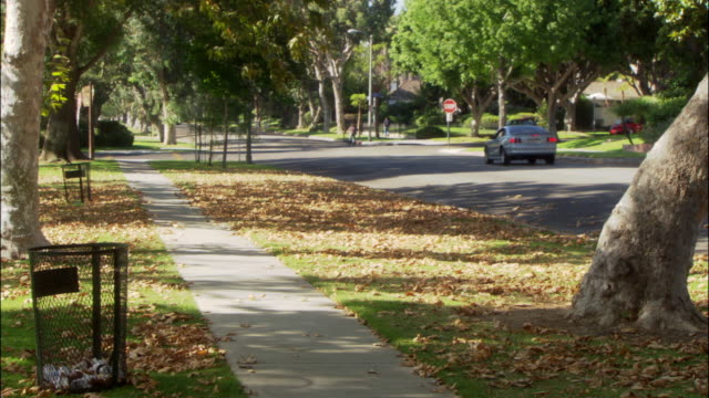MEDIUM ANGLE OF TWO LANE RESIDENTIAL SUBURBAN STREET JUST BEFORE FOUR WAY STOP INTERSECTION WITH SIDEWALK AT LEFT. SEE BROWN LEAVES COVER GRASS FLANKING SIDEWALK.