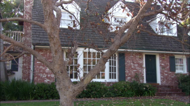 medium angle of two story suburban brick house with white and teal trim and black roof. see tree with sparse brown leaves partially obstructing view of home. - brick house stock videos & royalty-free footage