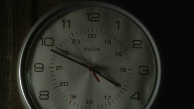 INSERT CLOSE ANGLE OF ROUND WHITE ANALOG CLOCK WITH SILVER FRAME AND BLACK HANDS HANGING ON WOOD PANELED WALL. SEE WORD SMITH IN BLACK TEXT ON CLOCK.