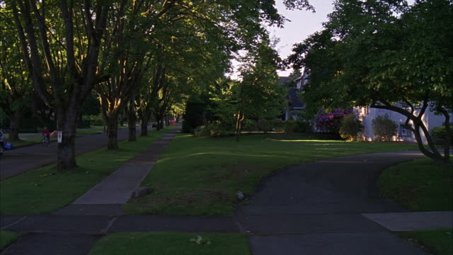 stockvideo's en b-roll-footage met process plate straight left driving through a residential neighborhood. appears middle class or upper class. tall trees line narrow streets. nicely pruned shrubs and perfectly mowed lawns. many two story houses. matching. - opeenvolgende serie