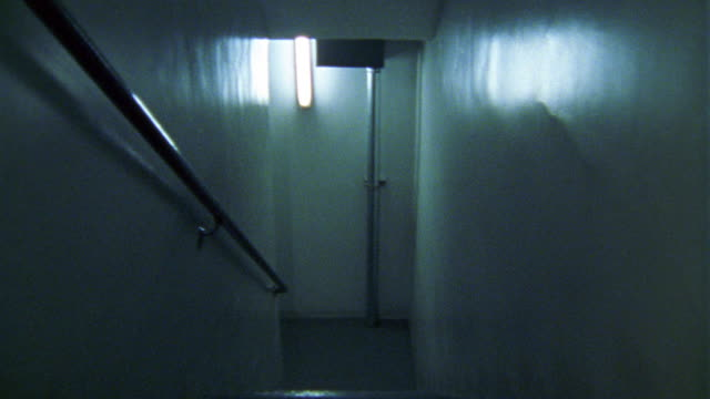 hand held walking pov of a staircase in an apartment building. the camera goes up the stairs, peaks out toward the apartment doors, and heads back up the stairs to the emergency exit door to the roof. - anno 2002 video stock e b–roll