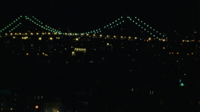 pan up from an apartment building to a bridge on the new york city skyline, probably the queensboro bridge as seen from lower manhattan. - anno 2002 video stock e b–roll