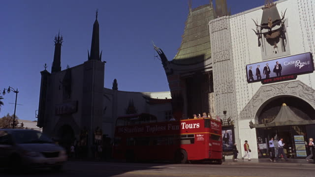 WIDE ANGLE OF GRAUMAN'S CHINESE THEATRE ON HOLLYWOOD BLVD. ADVERTISEMENT FOR MOVIE 'CASINO ROYALE' ABOVE GIFT SHOP OR STORE DOORS WITH AWNING.