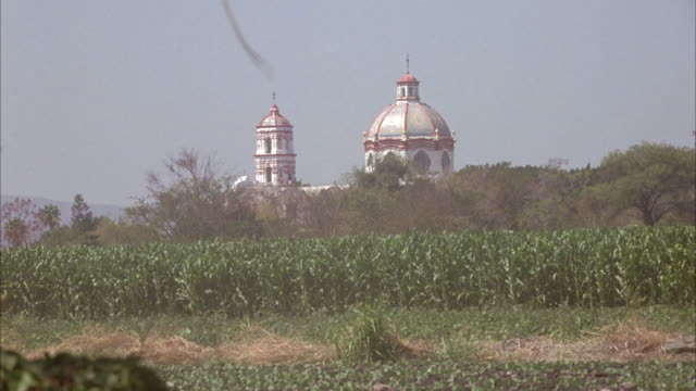 wide angle of spanish colonial style church steeple seen over cornfield in distance. - steeple stock videos & royalty-free footage