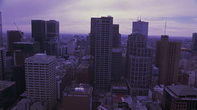 aerial of melbourne city skyline. high rise buildings include 303 collins and the optus centre. downtowns, office buildings. - 2007 stock videos & royalty-free footage