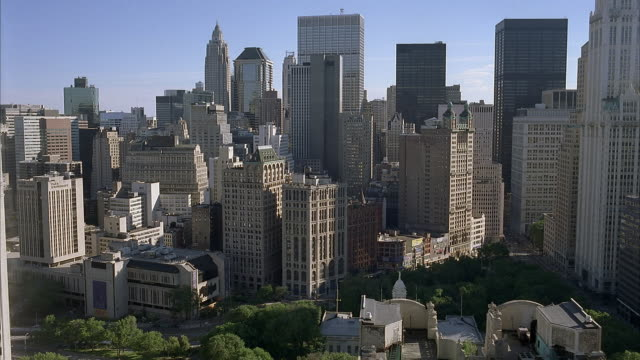 wide angle of new york city skyline. foley square, woolworth building, and others are seen in downtown manhattan view. cities, downtowns, cityscapes. - woolworth building stock videos & royalty-free footage