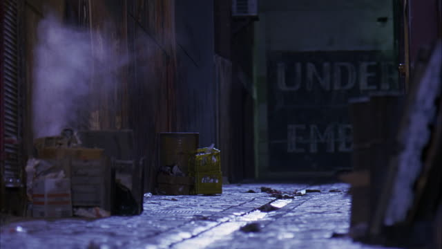 MEDIUM ANGLE OF DARK ALLEY WITH GARBAGE, CLUTTER, BOXES AND MILD CRATES. GUTTER RUNS THROUGH ALLEY AND STEAM RISES. PORTION OF SIGN VISIBLE IN BACKGROUND READING 'UNDER'.