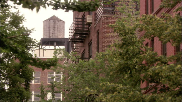 UP ANGLE OF A WATER TOWER OR WATER TANK ON TOP OF A BRICK BUILDING, SURROUNDED BY TREES AND OTHER APARTMENT BUILDINGS.  LOOKS LIKE QUEENS, BUT COULD ALSO BE A RESIDENTIAL AREA IN BROOKLYN OR THE BRONX.