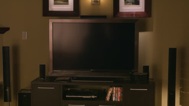 MEDIUM ANGLE OF A BLANK FLAT SCREEN SONY TELEVISION SCREEN SITTING ON A DESK. TWO MATCHING PICTURE FRAMES VISIBLE ABOVE. COULD BE IN DEN OR FAMILY ROOM.  COULD BE COMPUTER MONITOR. COULD BE IN DEN, FAMILY ROOM, OR HOME OFFICE.