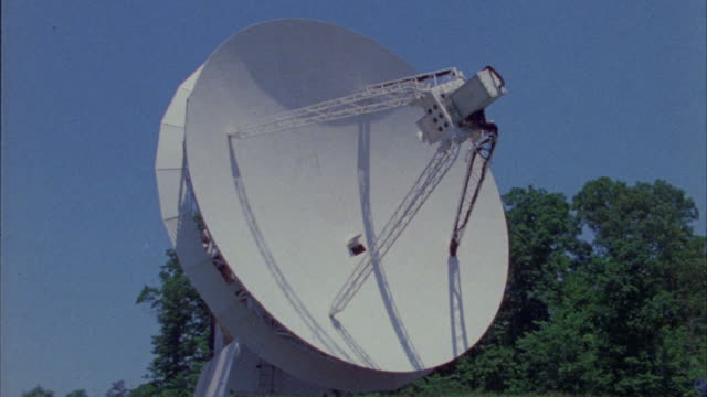 close angle of  satellite or radar dish. surrounded by trees. - radar stock videos & royalty-free footage