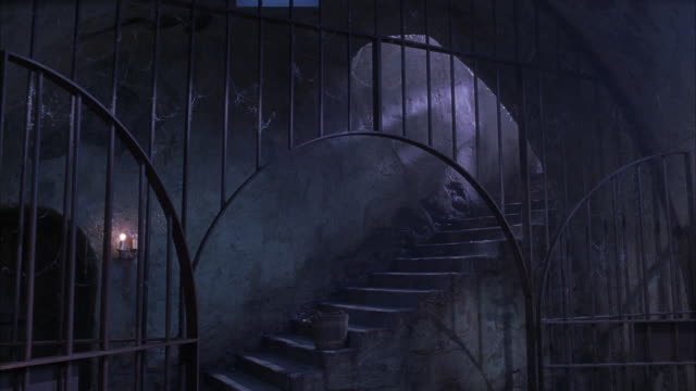 MEDIUM ANGLE OF CONCRETE STAIRCASE BEHIND ARCHED BLACK IRON GATE COVERED IN SPIDER WEBS. COULD BE DUNGEON OR PRISON. SEE DOOR AT BOTTOM LEFT. SEE CANDLES ON WALL AT RIGHT OF DOOR. SEE BLACK-CLAD FIGURE STANDING AT TOP OF STAIRS.