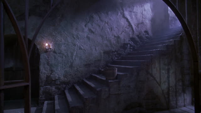 MEDIUM ANGLE OF CONCRETE STAIRCASE BEHIND ARCHED BLACK IRON GATE. COULD BE DUNGEON OR PRISON. SEE WOODEN DOOR AT BOTTOM LEFT. SEE CANDLES ON WALL AT RIGHT OF DOOR. SEE WOODEN BUCKET ON STAIRS. SEE TEXTURED WALL IN BACKGROUND.
