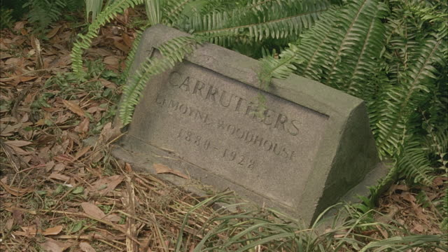 MEDIUM ANGLE OF HEADSTONE OR GRAVESTONE, MARKING THE GRAVE OF LAMOYNE WOODHOUSE CARRUTHERS, 1880 - 1928.  SOME OVERGROWN PLANTS, GRASS.