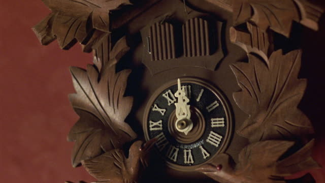 vidéos et rushes de medium angle establish of wooden cuckoo clock on red wall. see time set to 12:00. see right door at top of clock open, see small white bird come out of door and rock back and forth. see other wooden birds at bottom of clock rock back and forth. - coucou