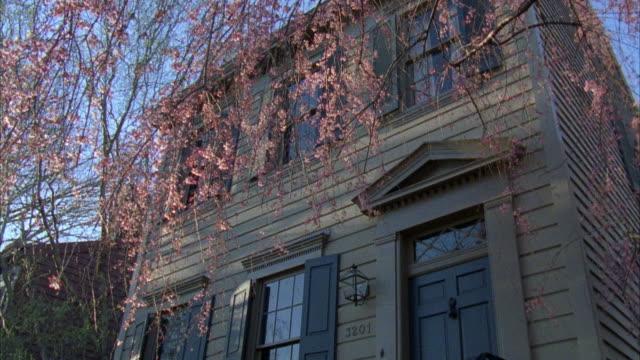 medium angle on the entrance of a brown middle class townhouse. see stairs leading to front door. camera pans up to the second story and pans down to the first story multiple times. house number reads 3201. flowering trees. - middle class stock videos & royalty-free footage