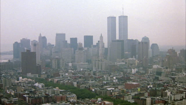 aerial of lower or downtown manhattan and new york city skyline. see world trade center twin towers in background. - world trade center manhattan video stock e b–roll