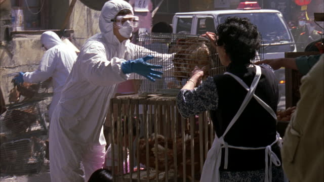 vidéos et rushes de hand held shot of men in biohazard or hazmat suits, goggles, and surgical masks in crowded outdoor marketplace. men are taking caged chickens away from angry vendors. - marché établissement commercial