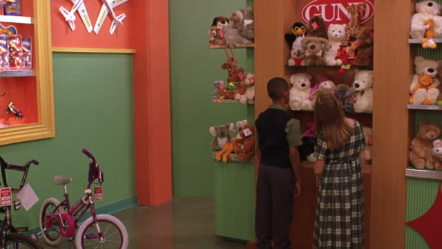 "medium angle of toy store. see ""gund"" toy stuffed animal display. see boy and girl standing in front of display with backs towards pov. - toy store stock videos and b-roll footage"