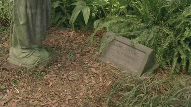 MEDIUM ANGLE OF HEADSTONE OR GRAVESTONE, MARKING THE GRAVE OF LAMOYNE WOODHOUSE CARRUTHERS, 1880 - 1928.  SOME OVERGROWN PLANTS, GRASS.  FEET OF PATINA OR MOSS-COVERED STATUE DEPICTING ROBED FIGURE.