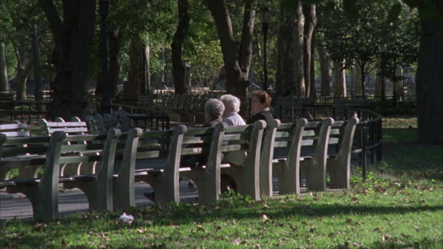 wide angle of mcgolrick park in greenpoint neighborhood of brooklyn.  women rest on  park benches beneath trees. - greenpoint brooklyn stock videos & royalty-free footage
