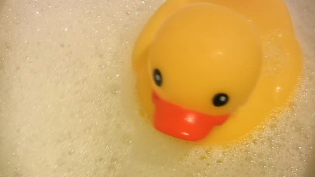 rubber ducky bubbles (hd) - duck stock videos & royalty-free footage