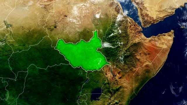 南スーダンの地図 - 南スーダン点の映像素材/bロール