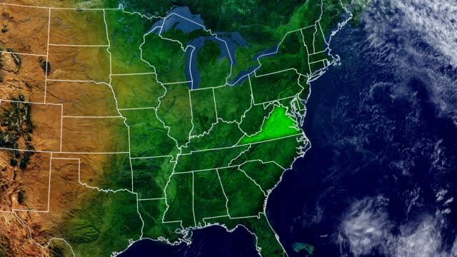 バージニア州地図 - バージニア州点の映像素材/bロール