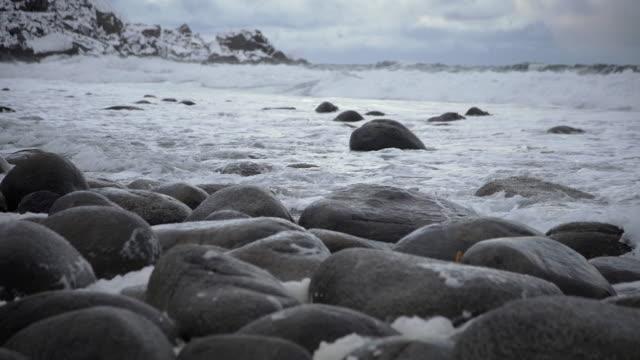 lofoten islands. beach stones - aptenia stock-videos und b-roll-filmmaterial