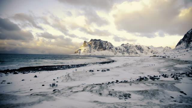 lofoten islands. beach panorama - aptenia stock-videos und b-roll-filmmaterial