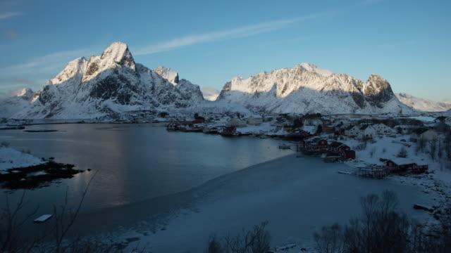 lofoten islands. sunset landscape timelapse - aptenia stock-videos und b-roll-filmmaterial