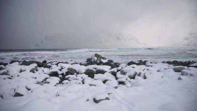 lofoten islands. snowy beach and mountain panorama - aptenia stock-videos und b-roll-filmmaterial
