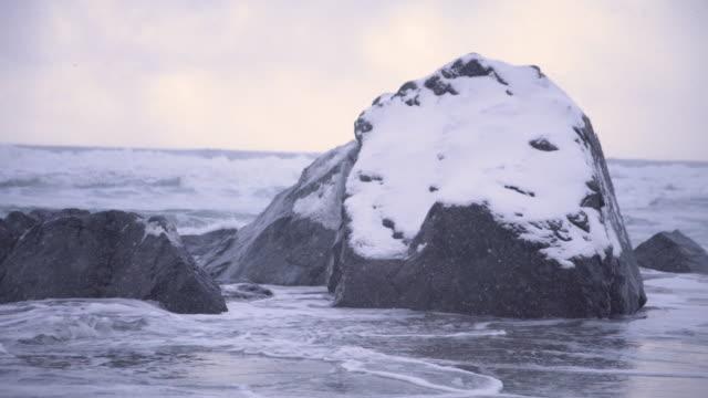 lofoten islands. snowy rock in the beach - aptenia stock-videos und b-roll-filmmaterial