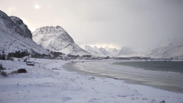 lofoten islands. snowy beach general - aptenia stock-videos und b-roll-filmmaterial