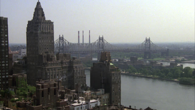 pan right to left across new york city skyline. queensboro bridge. high rises and skyscrapers. citicorp building visible. glass buildings, office buildings, and apartment buildings. - 1984 stock videos & royalty-free footage