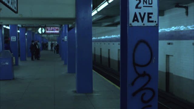 medium angle of subway platform at 2nd ave station. - 1977 stock videos & royalty-free footage