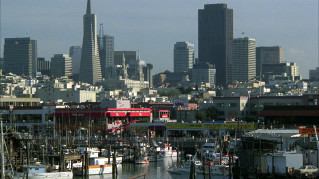 pull back from fishing boats docked in port of san francisco with pier and high rise office buildings in bg. sea gulls flying in fg. ferry moves through bay. camera pans to deck of navy ship coit tower in the bg. - coit tower stock videos & royalty-free footage