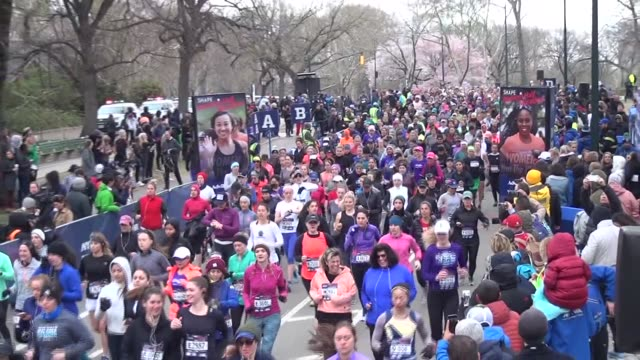 central park runners in race at start - salmini stock videos and b-roll footage