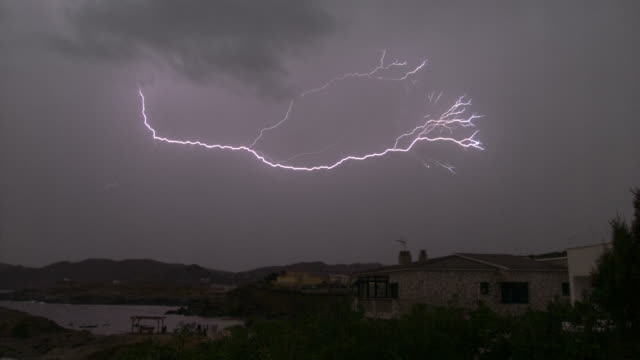 spain storm, thunder and lightning - lightning stock videos & royalty-free footage