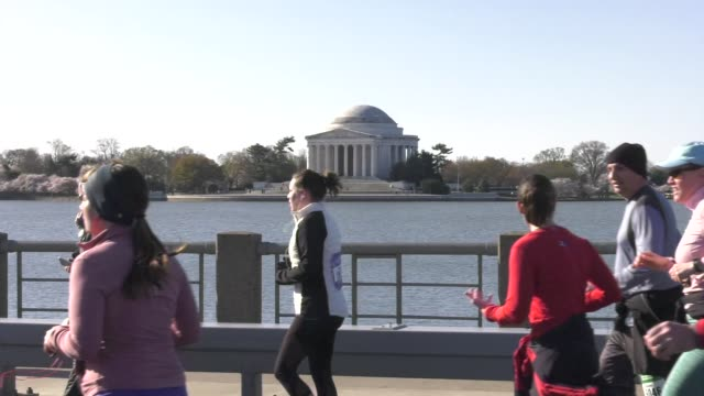 vídeos y material grabado en eventos de stock de runners and jefferson memorial - salmini