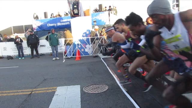 runners head out from start after horn sounds - salmini stock videos and b-roll footage