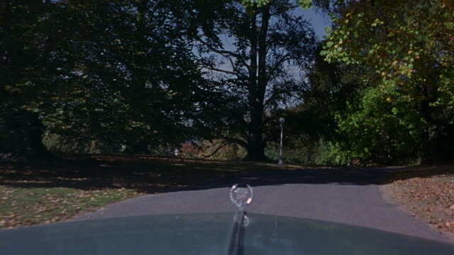 medium angle of one-way isolated paved road leading to lyndhurst mansion in tarrytown, new york. pov front windshield of 1972 cadillac deville driving along road. see deciduous trees in surrounding area. see catholic priest in black smock, white collar, a - boarding school stock videos & royalty-free footage