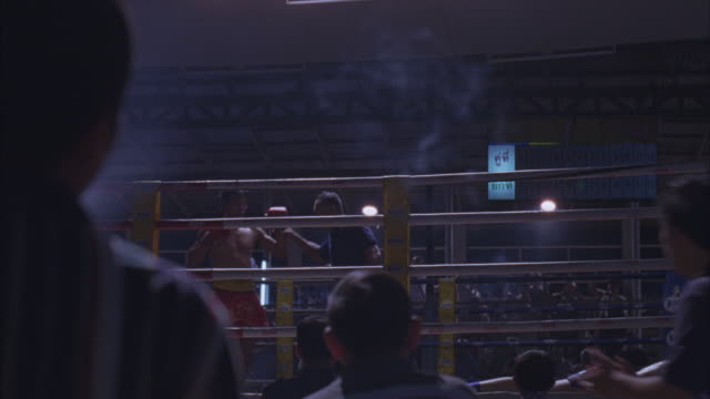 medium angle of men in boxing ring from audience pov. audience members in foreground pumping fists in air. boxer wearing boxing gloves stands in ring. referee holds boxer's hand up to declare him the winner. second boxer lies motionless on mat. spectators - boxing ring stock videos & royalty-free footage