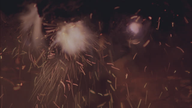 CLOSE ANGLE OF FIRECRACKERS OR FIREWORKS. COULD BE FLAMES OR FIRE. COULD BE SPARKS.
