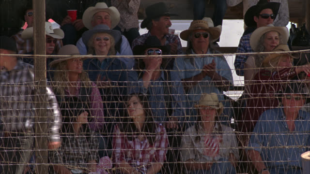 medium angle of people sitting behind chicken wire fence at rodeo. people wear cowboy hats. spectators. people clap. - chicken wire stock videos and b-roll footage