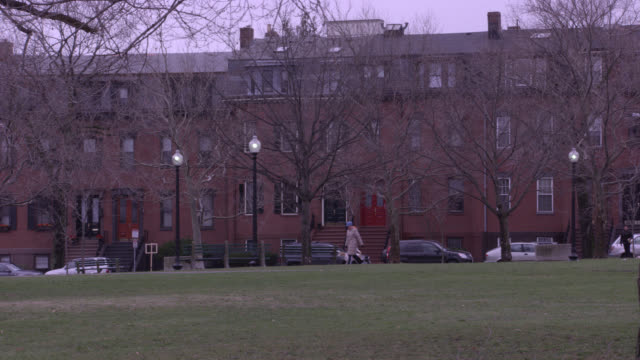 hand held of park, courtyard, or grassy field in front of middle class brownstone multi-story brick apartment buildings. bare trees and branches. pan right to left of flags and flagpoles next to memorial statue. american and state of massachusetts flags. - courtyard stock videos and b-roll footage
