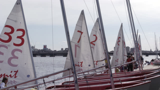 Wide Angle Of Women Students Or Young Women On Red Sailboats