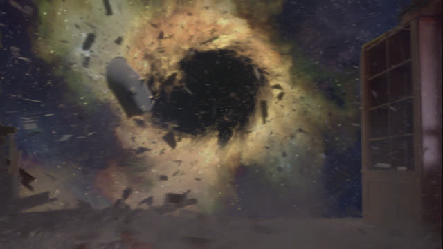 WIDE ANGLE OF BLACK HOLE SUCKING DEBRIS FROM BADLY DAMAGED HOUSE IN OUTERSPACE. BATHTUB AND SHELF AMONG OBJECTS PULLED INTO BLACK HOLE.