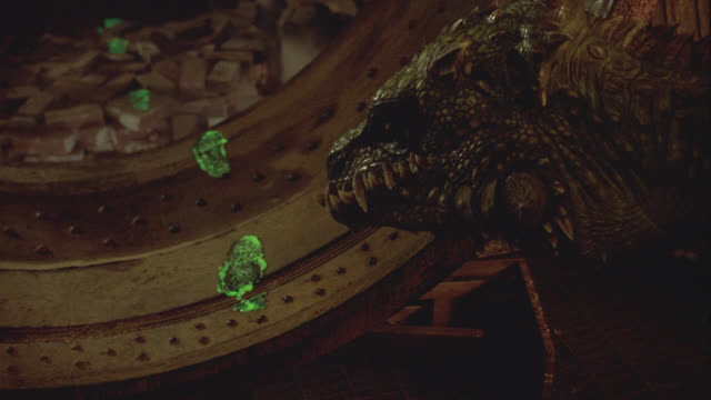 wide angle of round spaceship hatchway.  lizard-like monster or alien studies glow-in-the-dark green footprints which lead past bricks and debris.  sci-fi. - footprint stock videos & royalty-free footage