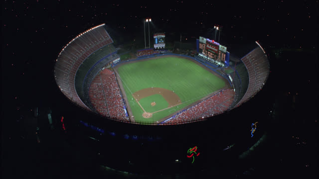 aerial of baseball game at shea stadium with crowd of spectators in stands. baseball field. sports. queens, flushing meadows-corona park. - flushing meadows corona park stock videos and b-roll footage