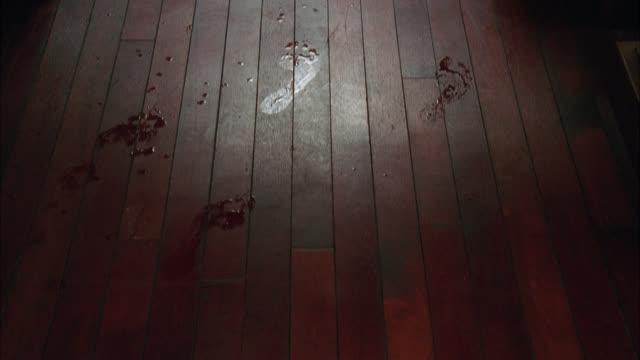 vídeos de stock e filmes b-roll de pan up of wet footprints on hardwood floor hallway. series. - pegada